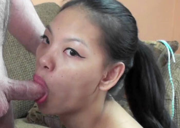 Vietnamese Olivia gives Logan a blowjob