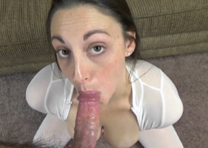 Melanie swallows a cock in her slutty catsuit